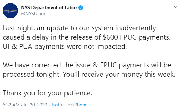 NYS Dept of Labor Twitter Update Regarding Missing $600 FPUC